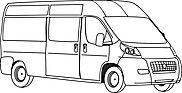 Ausmalbild/Malvorlage Auto Lieferwagen (Klicken für Großansicht + PDF)