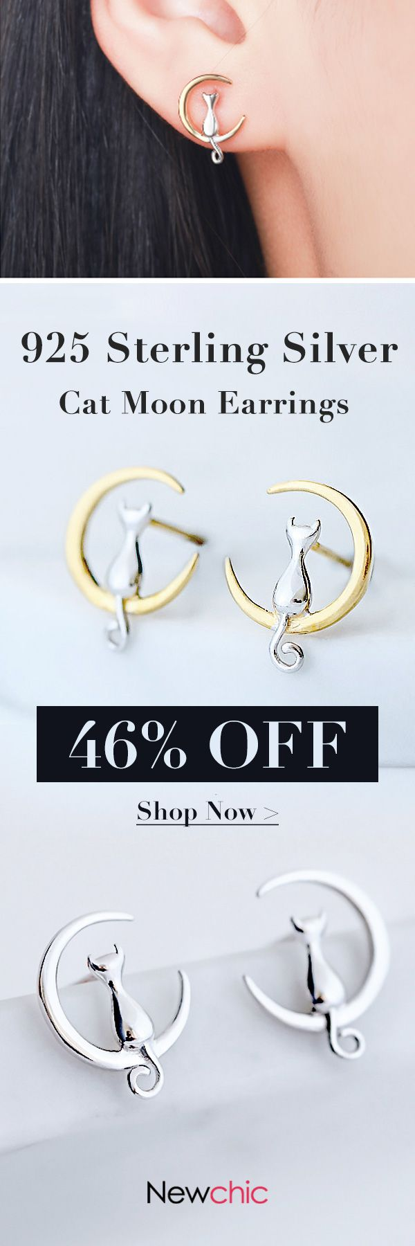 [Newchic Online Shopping] 46%OFF 925 Sterling Silver Sweet Style Cat & Moon Ear Stud