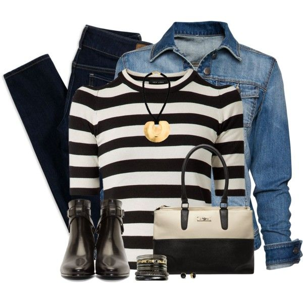 Denim Jacket & Black ankle Boots by daiscat on Polyvore featuring MANGO, American Eagle Outfitters, Yves Saint Laurent, Dorothy Perkins, Wet Seal, Kenneth Jay Lane and Kate Spade
