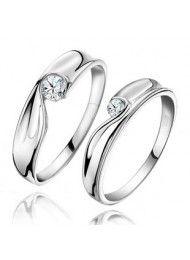 Silver Hearts and Arrows diamanten paar ringen die de kerst 0199