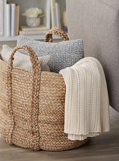 Exclusively from Simons Maison     We love the chic rustic natural look of jute woven in a practical rounded shape with handles   Large size perfect for storing throws, cushions or towels in the bathroom