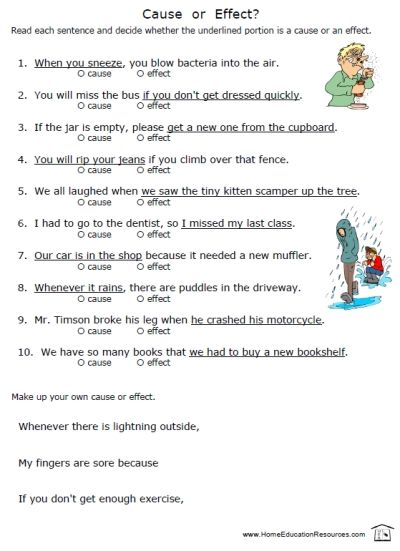best cause effect images cause and effect 8 worksheets in full color each a full page answer key total of 16 pages to practice cause and effect for middle grades fun high interest topics