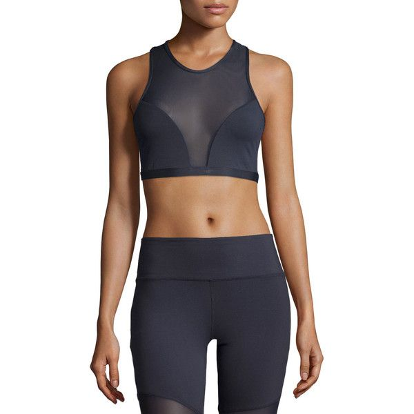 Varley Highland Mesh-Panel Sports Bra ($63) ❤ liked on Polyvore featuring activewear, sports bras, navy, plunge sports bra, navy sports bra, sleeveless pullover, cropped pullover and sweater pullover