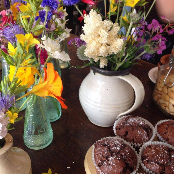 Home grown summer time flowers for Bell's Diner. What more could you want than flowers and cakes?