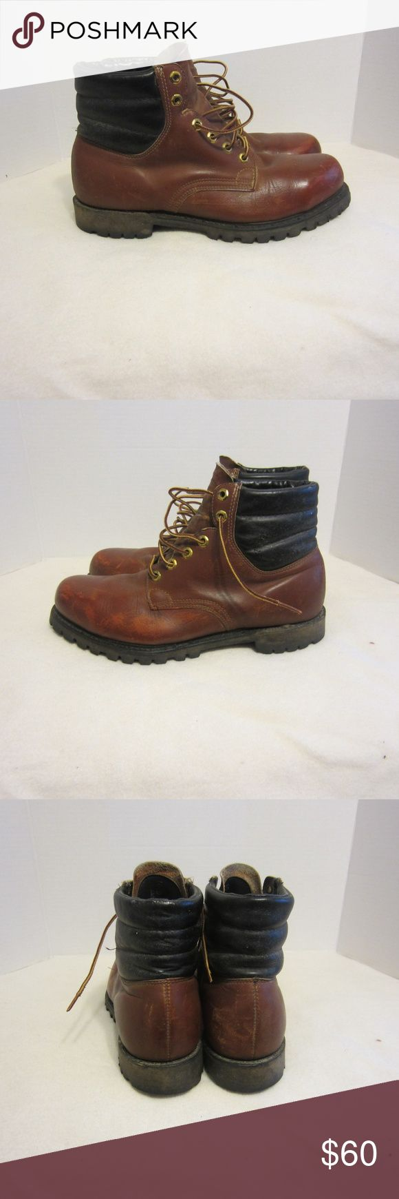 Vibram Men,s Leather Steel Toe Work Boots Sz 10D This listing is for a pair of Vibram Mens Brown Leather Steel Toe Work Boots Size 10D. Very good condition. Some minor blemishes as with many brown shoes. Soles and heels look new. Vibram Shoes Boots