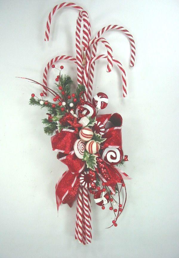 Cute Candy Cane Swag Christmas Wreath by Ed The Wreath Guy #EdTheWreathGuy