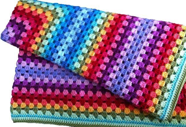 Accessoires - gehaakte deken, regenboog 60*60cms - Een uniek product van LasLaboresdeCarmita op DaWanda