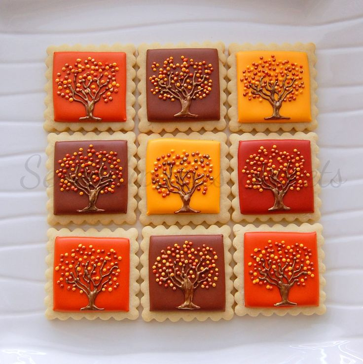 Autumn tree stamp biscuits