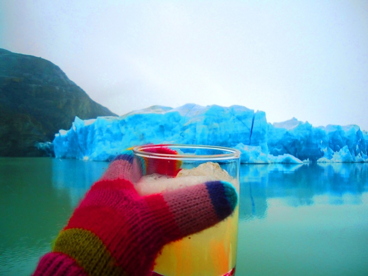 Pisco Sour with millenary ice from Grey Glacier in Torres del Paine ...