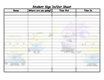 Minion student sign in and out sheet | Minion Lab ...