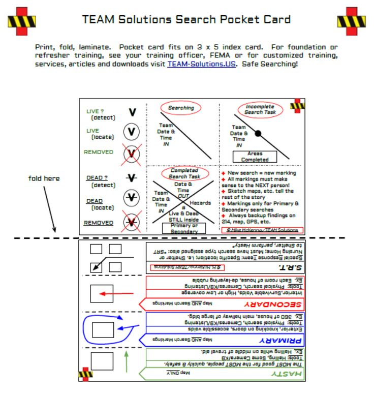 Search rescue pocket cardfema search victim markings