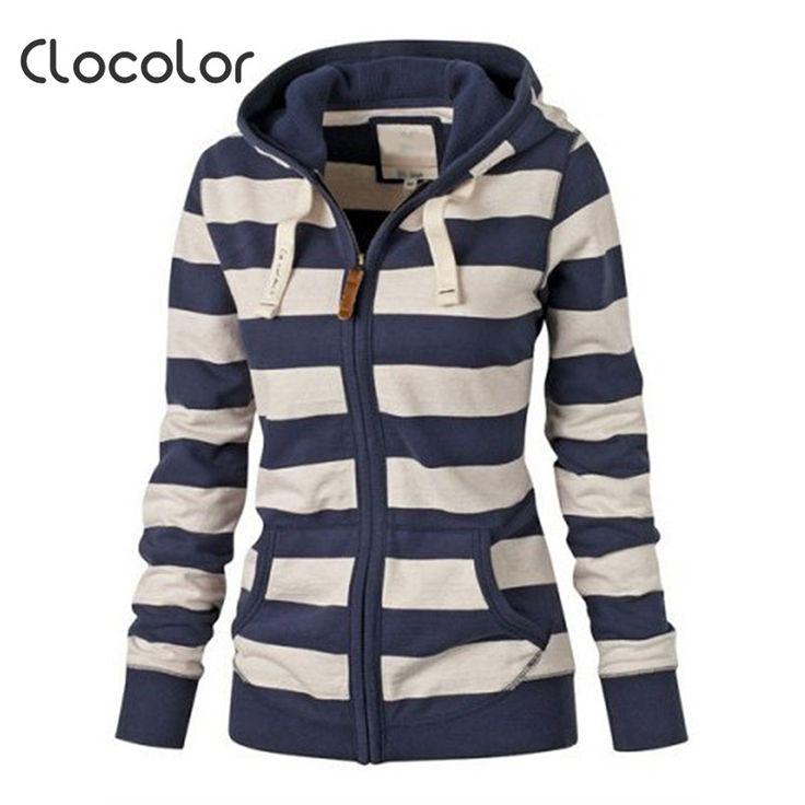 Clocolor Blue Striped Women Hoodies Casual Women Sweatshirt Full Sleeve Women Autumn Winter Tracksuit Suit