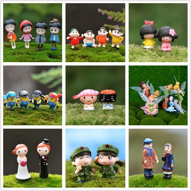 Kawaii Zakka China Japón Amante Coulpe de Personajes de la Película de Dibujos Animados Figuras Diy Pastel Miniatura Muñeca de Hadas Del Jardín Decoración de La Boda