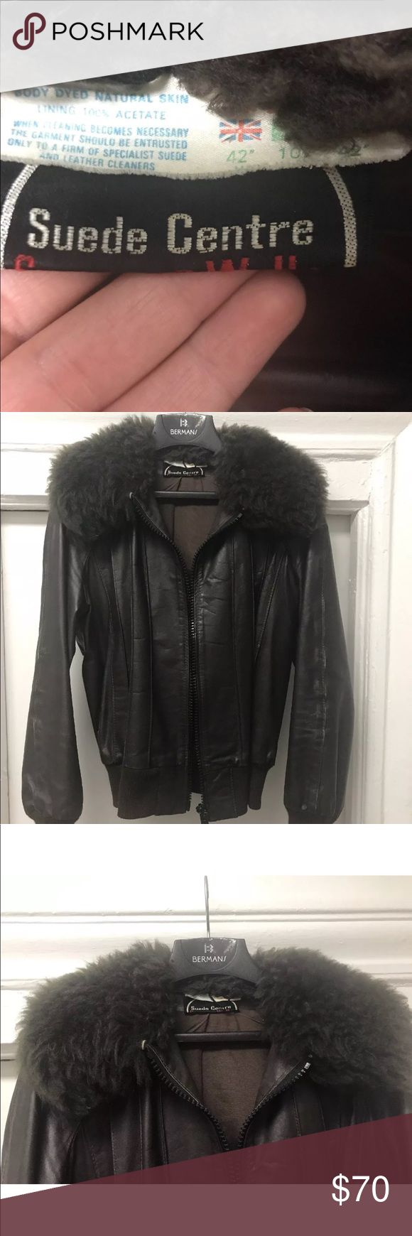 Vintage Leather Bomber Jacket with shearling Vintage Swears & Wells leather jacket  UK leather makers   . Classic bomber style jacket with thick shearling  . Chocolate brown leather & fur  . Perfectly broken in  . No odor  . Shearling is very soft & supple   | Fit |  Size 42  Fits about a size 8/10 women's or a size Small men's Vintage Jackets & Coats