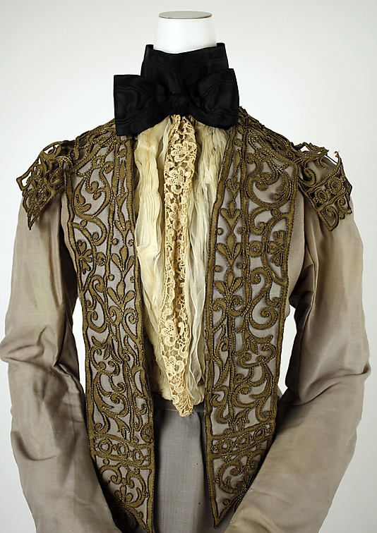 Walking dress, bodice detail.  House of Worth  (French, 1858–1956).  Date: 1900–1903.  Culture: French.  Medium: silk, leather, metallic thread, cotton.