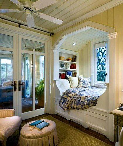 alcove bed with bookcase at headboard-Spare bedroom in the lotto house. hehe