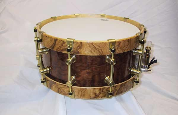 bearing edge snare drum in bubinga with olive ash burl hoops i own this one he 39 s name wellman. Black Bedroom Furniture Sets. Home Design Ideas