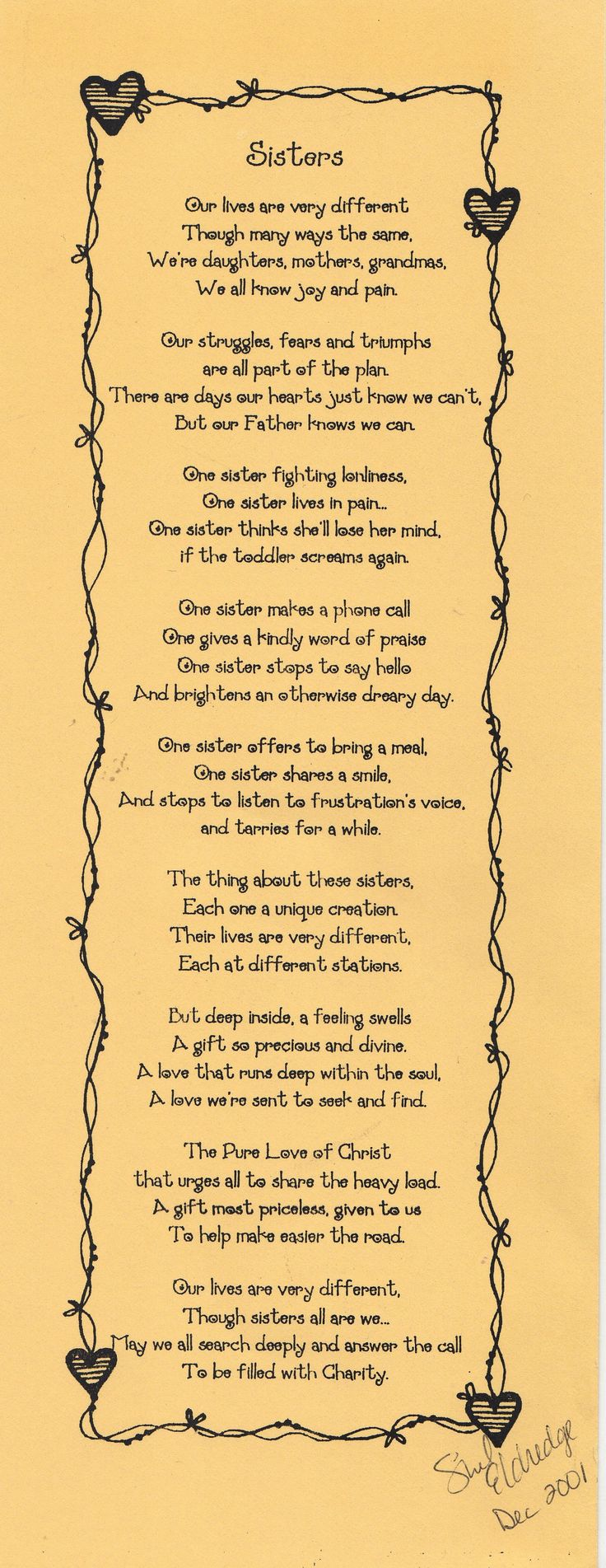 Good poem for Relief Society activity about serving each other.
