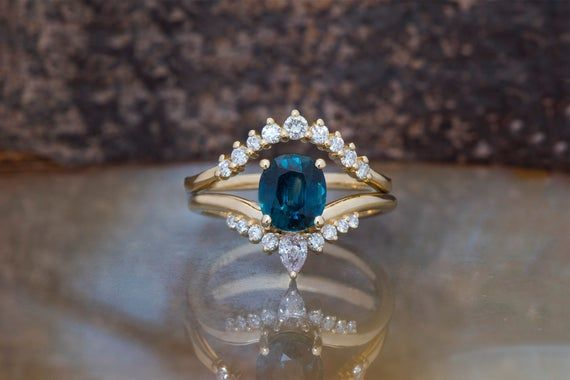 2670 00 Usd Blue Green Sapphire Wedding Ring Set Art Deco Wedding