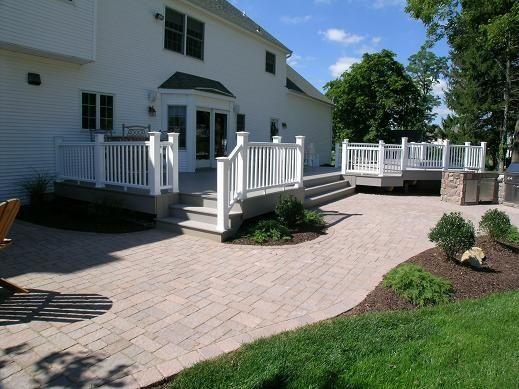 decks and brick walkways brick patio off deck patio and walkway ideas - Patio And Deck Ideas