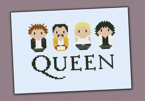 Queen rock band  PDF cross stich pattern van cloudsfactory op Etsy, $4.50