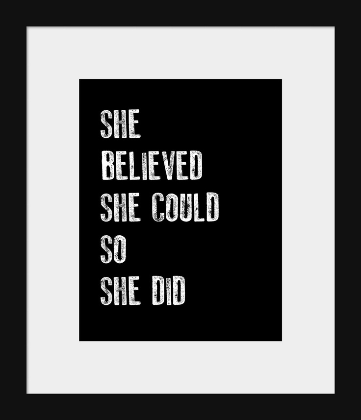 Home Wall Decor- Quote Print for Wall-She Believed She Could So She Did Quote Inspirational Print. $13.00, via Etsy.