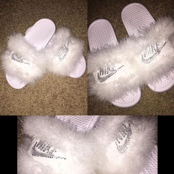 Fur & Bedazzled Nike Slides Made to order.   -Nike slides available mainly in black or white. If you want another color, let me know. -All colors available for fur.  Please allow 3-5 days for processing.. I order the slides then go from there.  TOO ORDER: comment below with information and I will create a separate listing for you to purchase.  Size: Nike slide color: Fur color: Nike Shoes Slippers