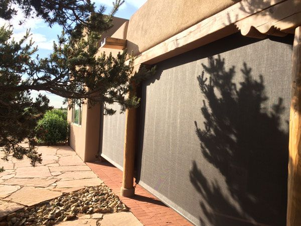 Buckskin Wind And Solar Screens For A Covered Patio
