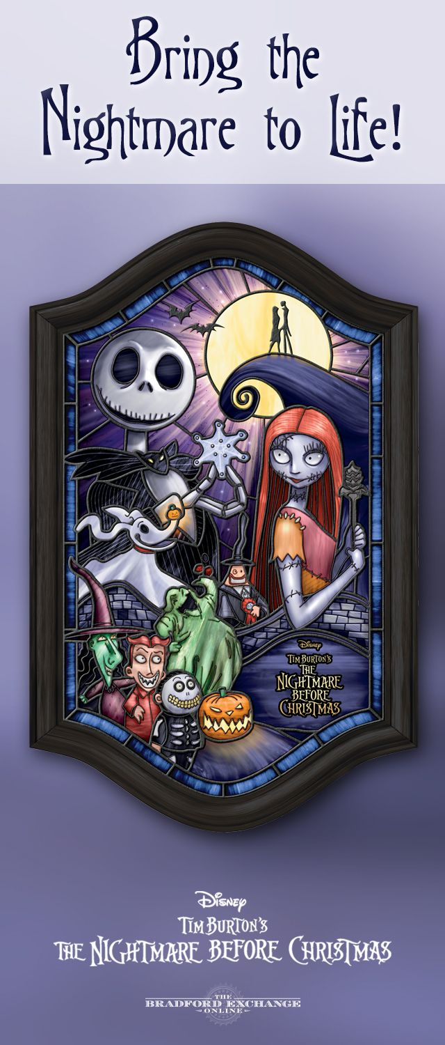 Illuminate your love for Disney Tim Burton's The Nightmare Before Christmas! This hauntingly vivid presentation features a stained-glass panel with imagery of Jack Skellington, Sally, Zero and more. It even lights up from within to create an eerie glow.