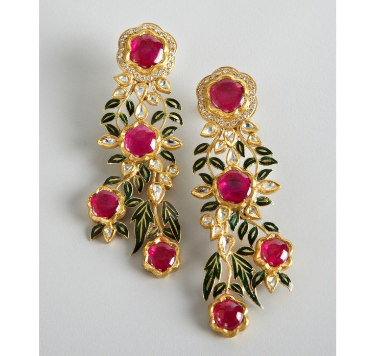 Amrapali diamond and ruby gold floral cascade earrings