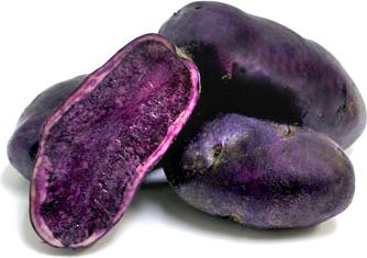 Purple Congo Potatoes Purple Congoes are as the name suggests are a purple coloured potato. Although from the outside, they look  quite unattractive when they are cut open they show a beautiful purple colour. Because they are so oddly shaped the