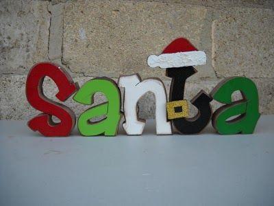 santa - painted wood letters