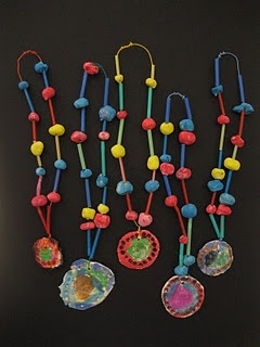 clay bead and medallion necklaces- kindergarten