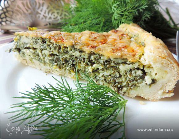 """Открытый пирог с творогом и зеленью """"Витаминный"""". Ингредиенты: творог, маргарин, мука"""