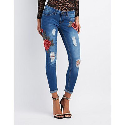 Denim Rose Embroidered Destroyed Skinny Jeans - Size 13