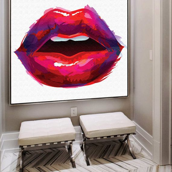 These luscious lips in vibrant pink red lipstick will add a pop of colour and fun to your space.   ***IMPORTANT*** If you would like another size,