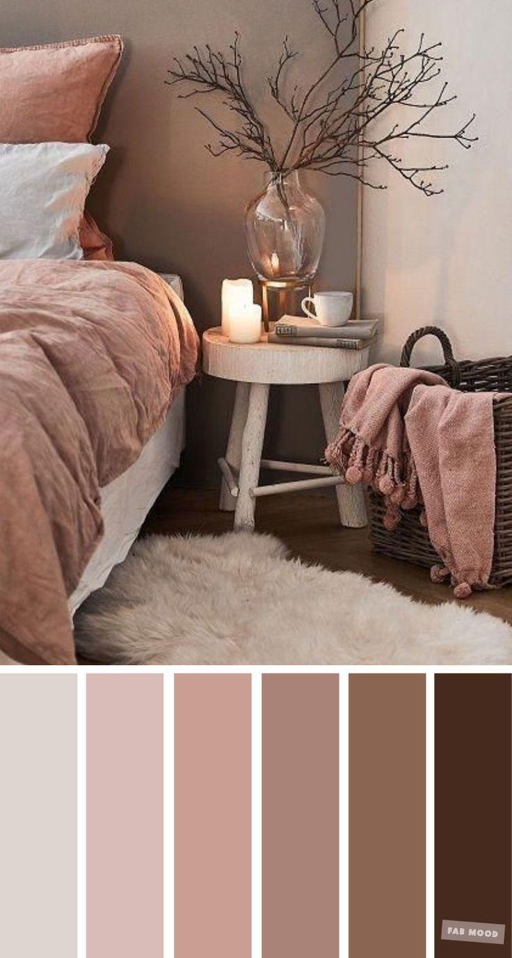 Malvenfarbenes und braunes Farbschema für Schlafzimmer – Erdfarbene Farben für