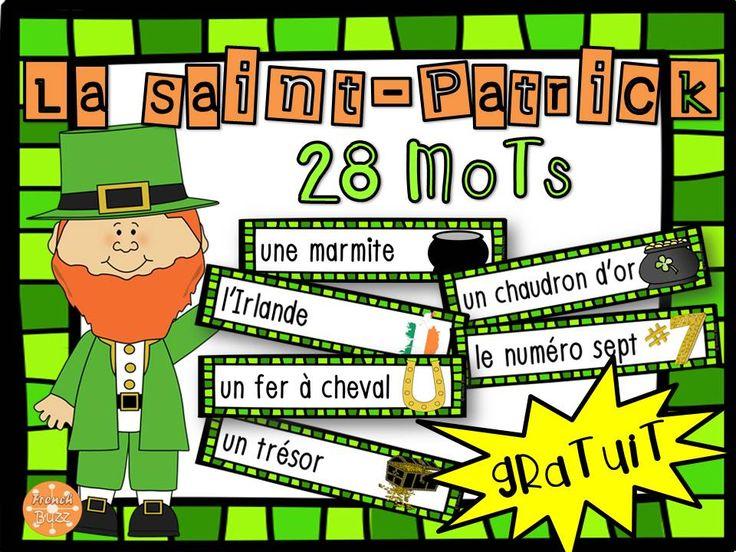 La Saint-Patrick - vocabulaire GRATUIT! Liste de 28 mots pour vos activités en classe!