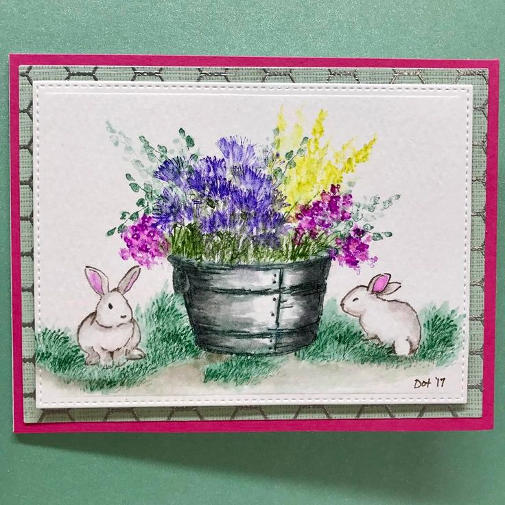 Art Impressions Rubber Stamps: Wonderful Watercolor: WC Bunnies Set.  Handmade water color card.  Bucket with flowers, foliage.