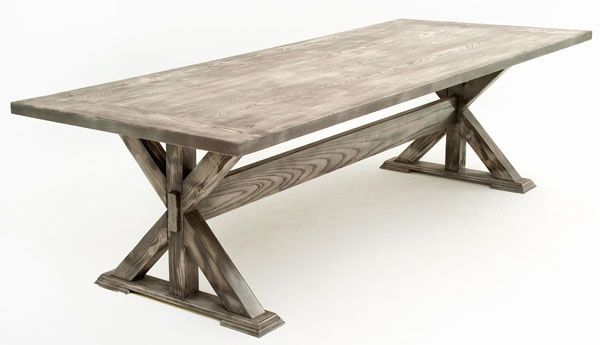 This solid wood X base dining table resembles what might have been found in the mid 1900's in kitchens around the southern states. The table legs with center support lends itself to a rustic feel, while the Urban Graphite Finish gives it a very modern look. Made entirely of natural wood, this table is as