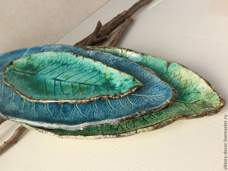 Купить Тарелка керамическая Лист - зеленый, Керамика, керамика ручной работы…