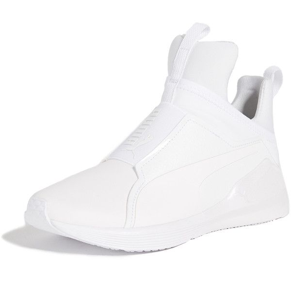 PUMA Fierce Chalet Trainers ($110) ❤ liked on Polyvore featuring shoes, sneakers, puma white, white trainers, puma trainers, white high tops, platform shoes and white high-top sneakers