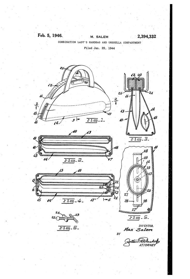 Brevetto US2394332 - Combination lady's handbag and umbrella compartment - Google Brevetti