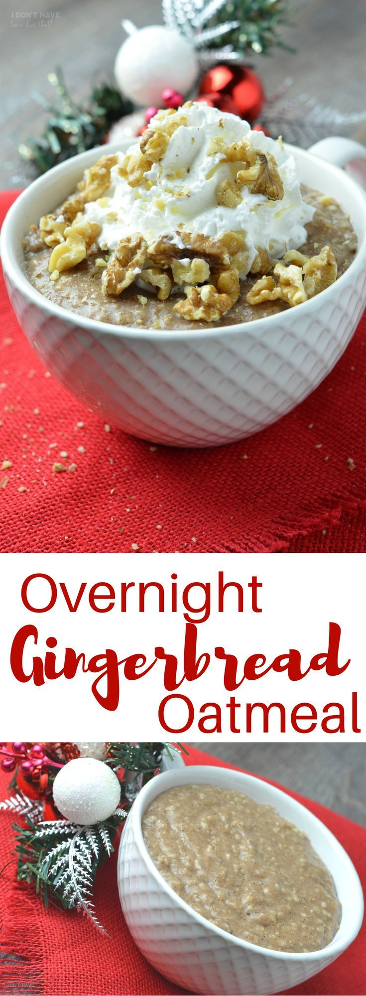 Worlds easiest (and cheapest!) Christmas morning breakfast - Overnight Gingerbread Oatmeal /savealot/ #AD #holidaysmadeeasy #savealotinsiders