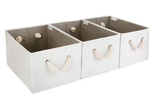 Storage Basket Bin Minimal Bamboo Style Strong Cotton Rope Handle White Jumbo #StorageBasket