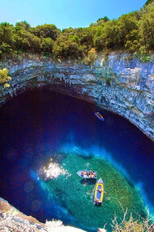 Melissani Cave, Kefalonia, Greece. I've been. Is as a beautiful and wondrous as it looks.✨