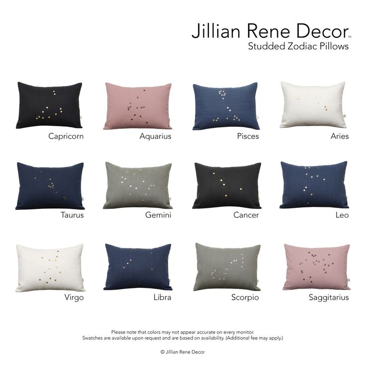 Studded Zodiac Pillow Covers with Personalized Astrological Sign (12x16) by JillianReneDecor - Custom Cushion Covers - Valentine's Day Gift by JillianReneDecor on Etsy https://www.etsy.com/listing/264490792/studded-zodiac-pillow-covers-with