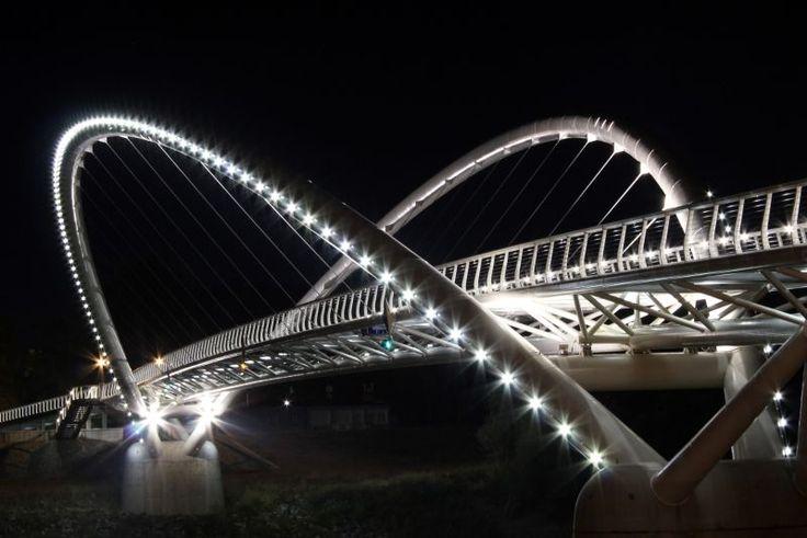 Mayfly Bridge (Tiszavirág-híd), Szolnok over the Tisza River, Hungary.