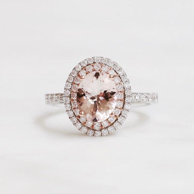 Morganite double halo // KL Diamonds