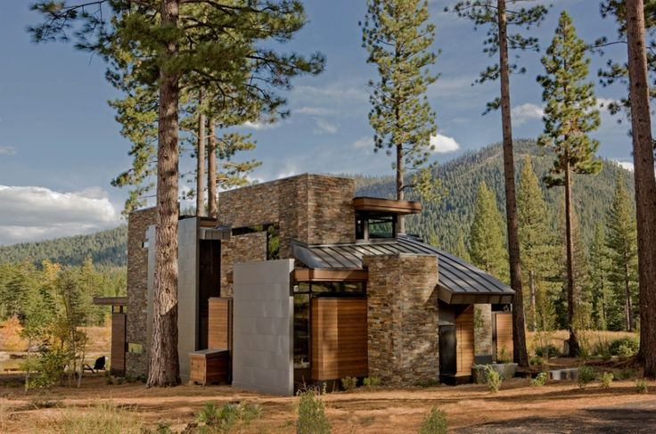 modern mountain home wood stone